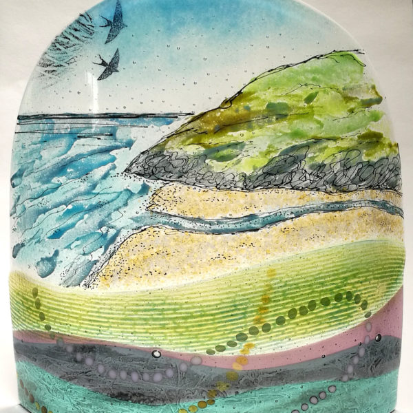 Cwm Silio - large curved fused glass panel