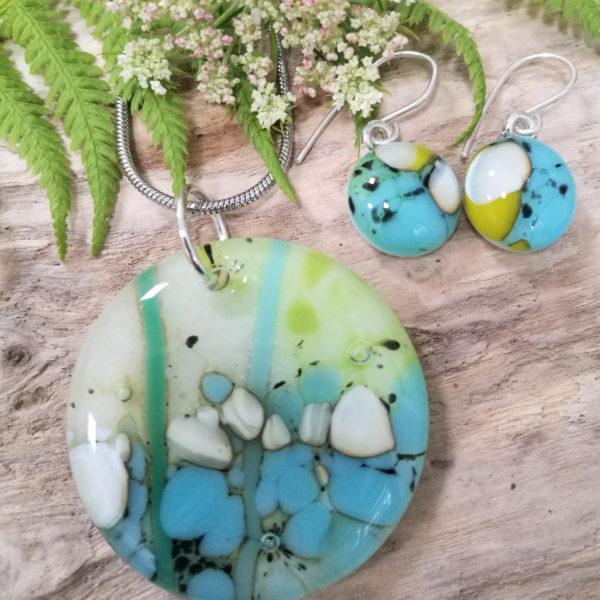 Meadow - fused glass pendant and earrings